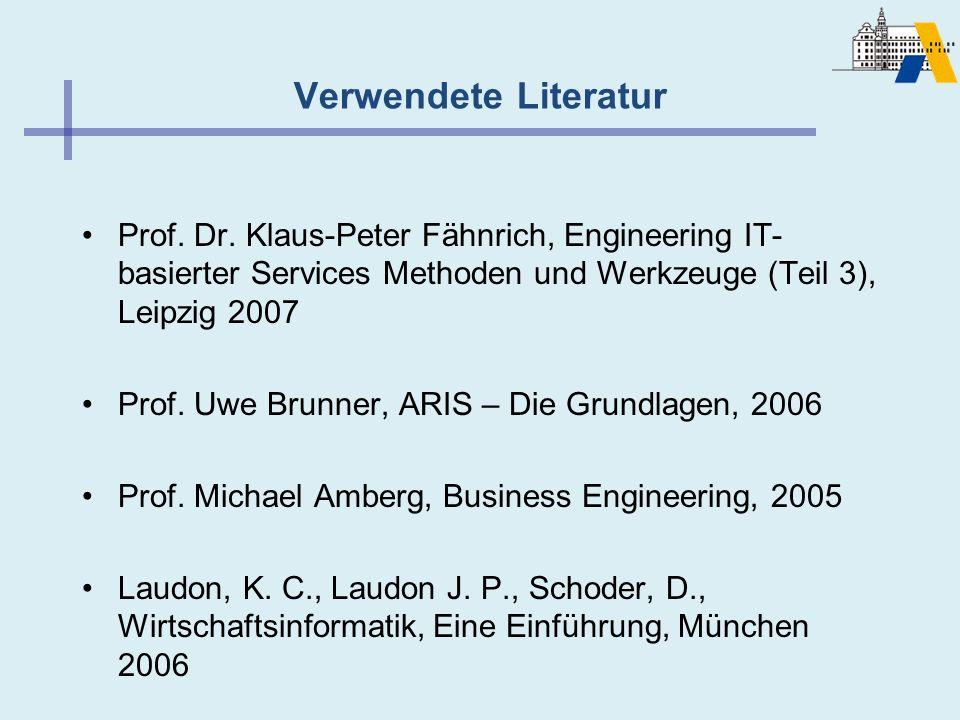 Verwendete Literatur Prof. Dr. Klaus-Peter Fähnrich, Engineering IT- basierter Services Methoden und Werkzeuge (Teil 3), Leipzig 2007 Prof. Uwe Brunne