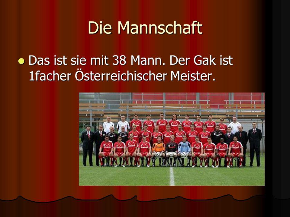 Die Mannschaft Das ist sie mit 38 Mann. Der Gak ist 1facher Österreichischer Meister. Das ist sie mit 38 Mann. Der Gak ist 1facher Österreichischer Me