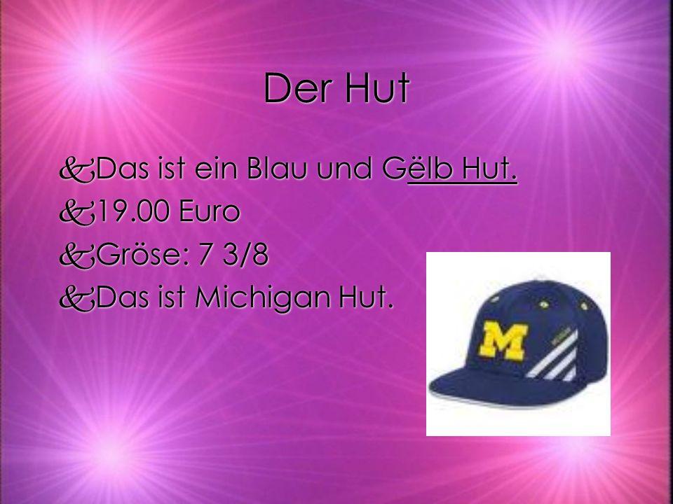 Der Hut kDas ist ein Blau und Gëlb Hut. k19.00 Euro kGröse: 7 3/8 kDas ist Michigan Hut.