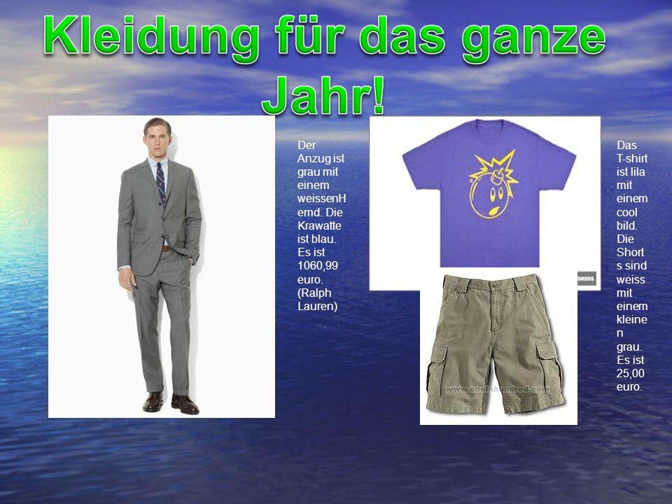 Der Anzug ist grau mit einem weissenH emd. Die Krawatte ist blau. Es ist 1060,99 euro. (Ralph Lauren) Das T-shirt ist lila mit einem cool bild. Die Sh
