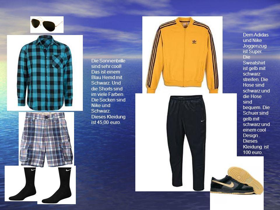 Die Sonnenbrille sind sehr cool! Das ist einem Blau Hemd mit Schwarz. Und die Shorts sind im viele Farben. Die Socken sind Nike und Schwarz. Dieses Kl