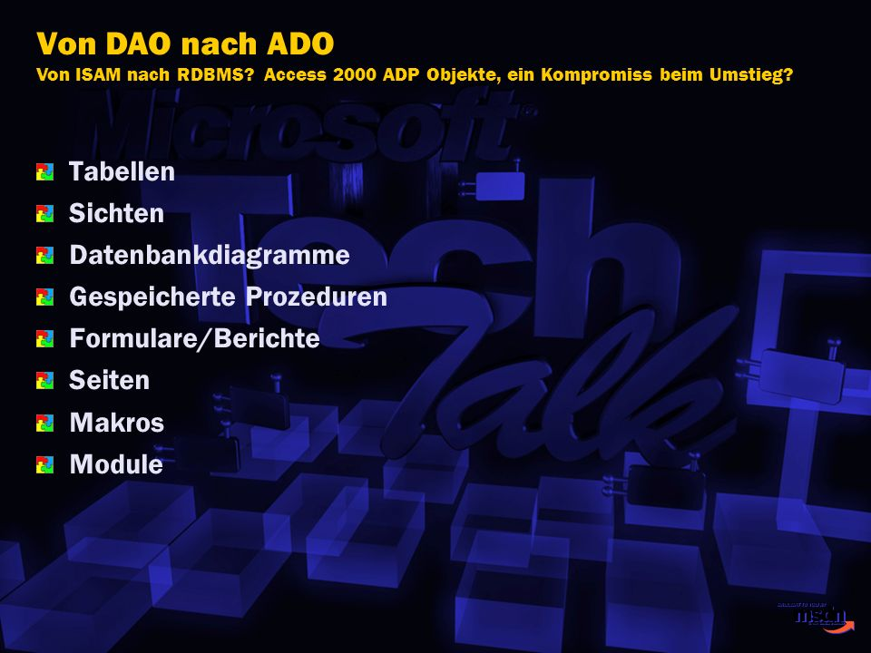 Tabellen Sichten Datenbankdiagramme Gespeicherte Prozeduren Formulare/Berichte Seiten Makros Module Von DAO nach ADO Von ISAM nach RDBMS? Access 2000