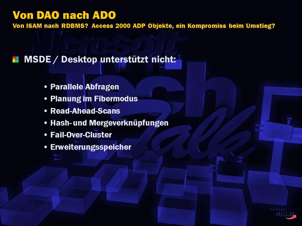MSDE / Desktop unterstützt nicht: Parallele Abfragen Planung im Fibermodus Read-Ahead-Scans Hash- und Mergeverknüpfungen Fail-Over-Cluster Erweiterung