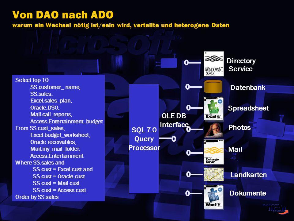 Von DAO nach ADO warum ein Wechsel nötig ist/sein wird, verteilte und heterogene Daten Datenbank Spreadsheet Photos Mail Landkarten Dokumente SQL 7.0
