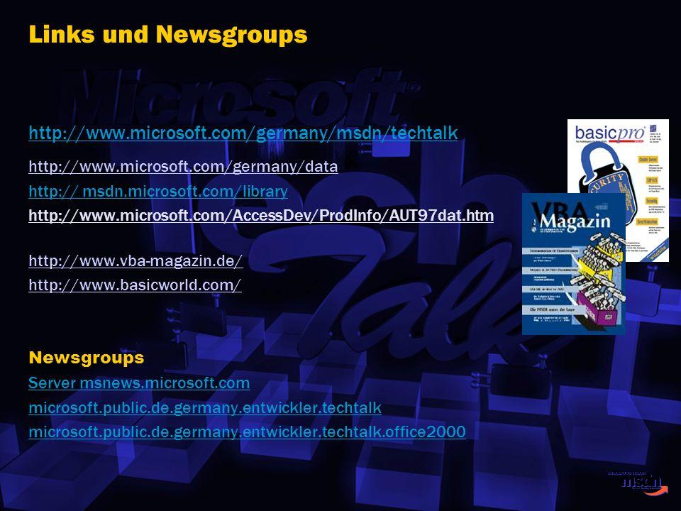 http://www.microsoft.com/germany/msdn/techtalk http://www.microsoft.com/germany/data http:// msdn.microsoft.com/library http://www.microsoft.com/Acces