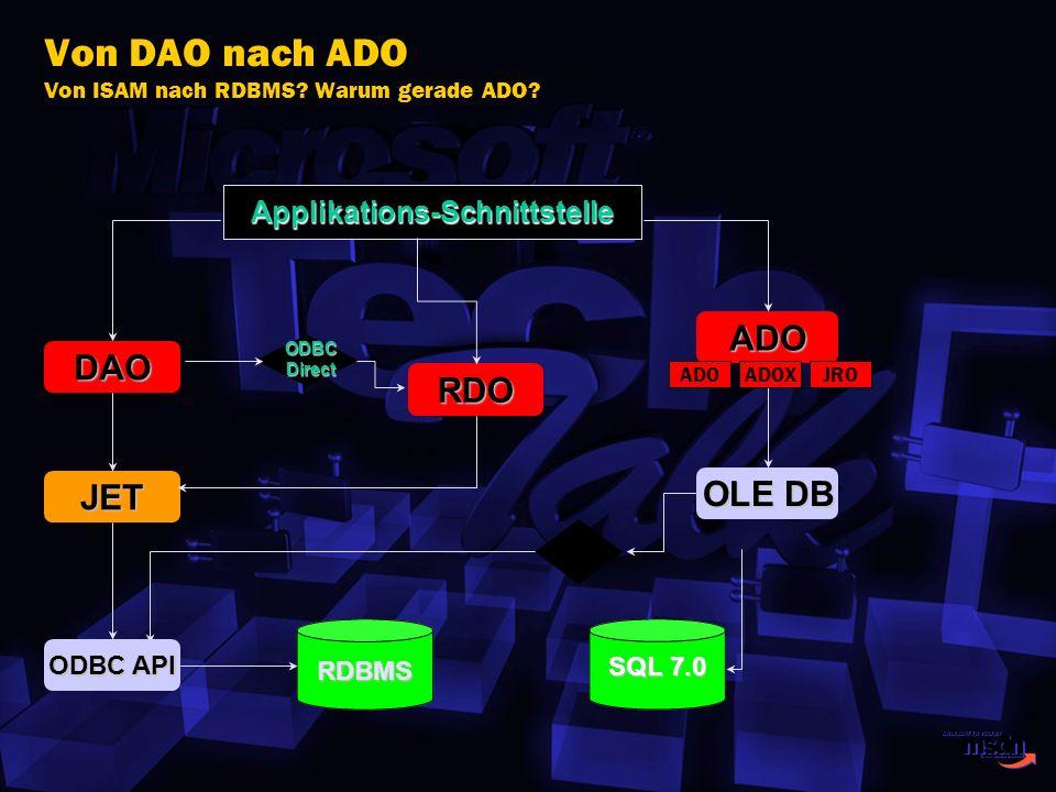 Von DAO nach ADO Von ISAM nach RDBMS? Warum gerade ADO? Applikations-Schnittstelle ADO OLE DB DAO RDBMS JET ODBC API RDO SQL 7.0 ODBCDirect ADOADOXJRO