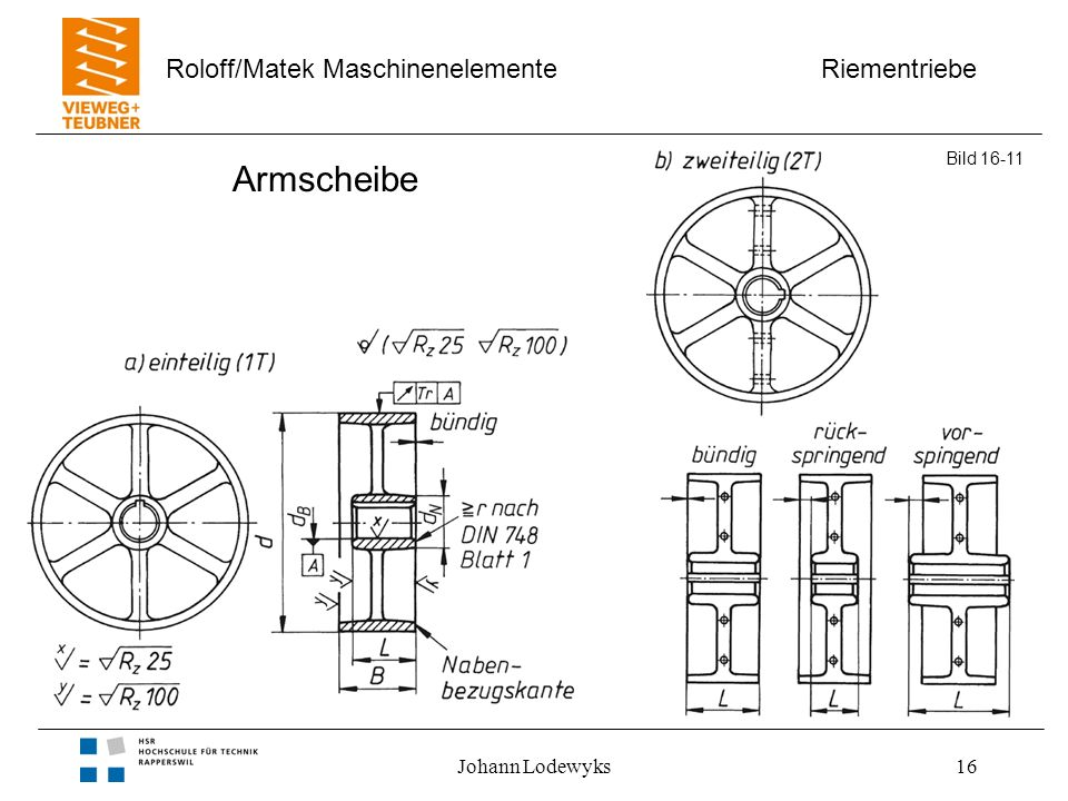 Riementriebe Roloff/Matek Maschinenelemente Johann Lodewyks16 Armscheibe Bild 16-11