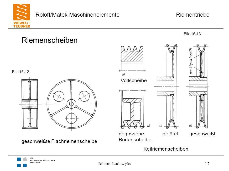 Riementriebe Roloff/Matek Maschinenelemente Johann Lodewyks17 Riemenscheiben Bild 16-13 geschweißte Flachriemenscheibe Keilriemenscheiben Vollscheibe