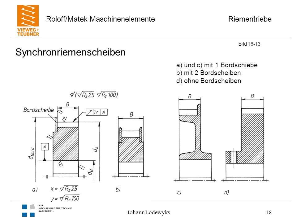 Riementriebe Roloff/Matek Maschinenelemente Johann Lodewyks18 Synchronriemenscheiben Bild 16-13 a) und c) mit 1 Bordschiebe b) mit 2 Bordscheiben d) o