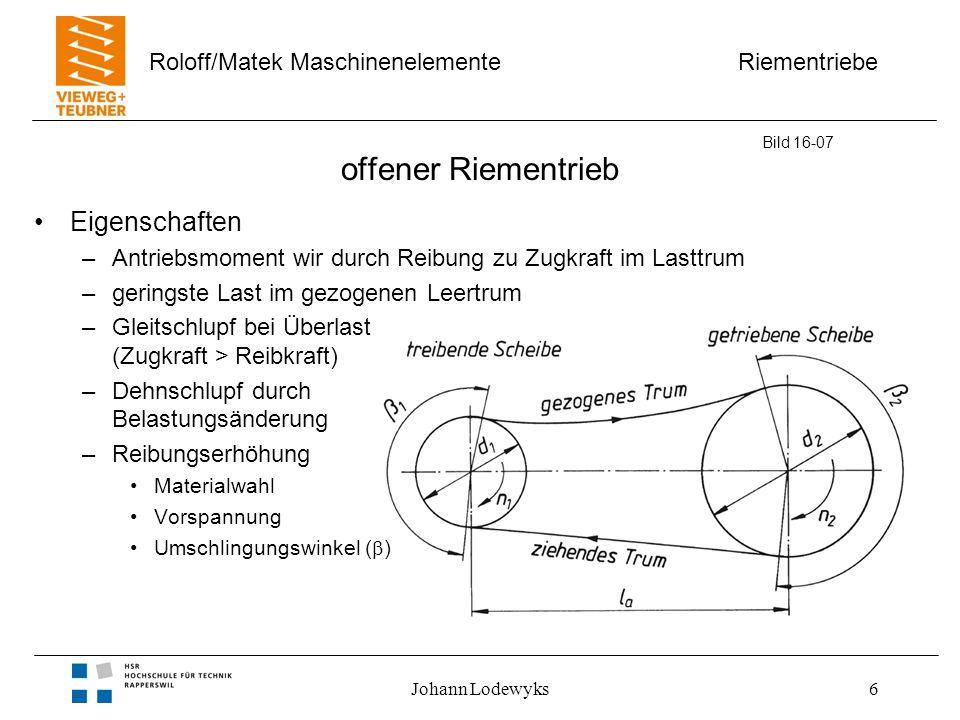 Riementriebe Roloff/Matek Maschinenelemente Johann Lodewyks7 Riemenführung b) gekreuzt –gegensinnige Wellendrehrichtung –nur für Flachriemen geeignet c) halbgekreuzt –gekreuzte Wellen d) Winkeltrieb –Wellenachsen mit Schnittpunkt –Umlenkrolle notwendig Bild 16-07 b) c) d) gekreuzt halbgekreuzt (geschränkt) Winkeltrieb