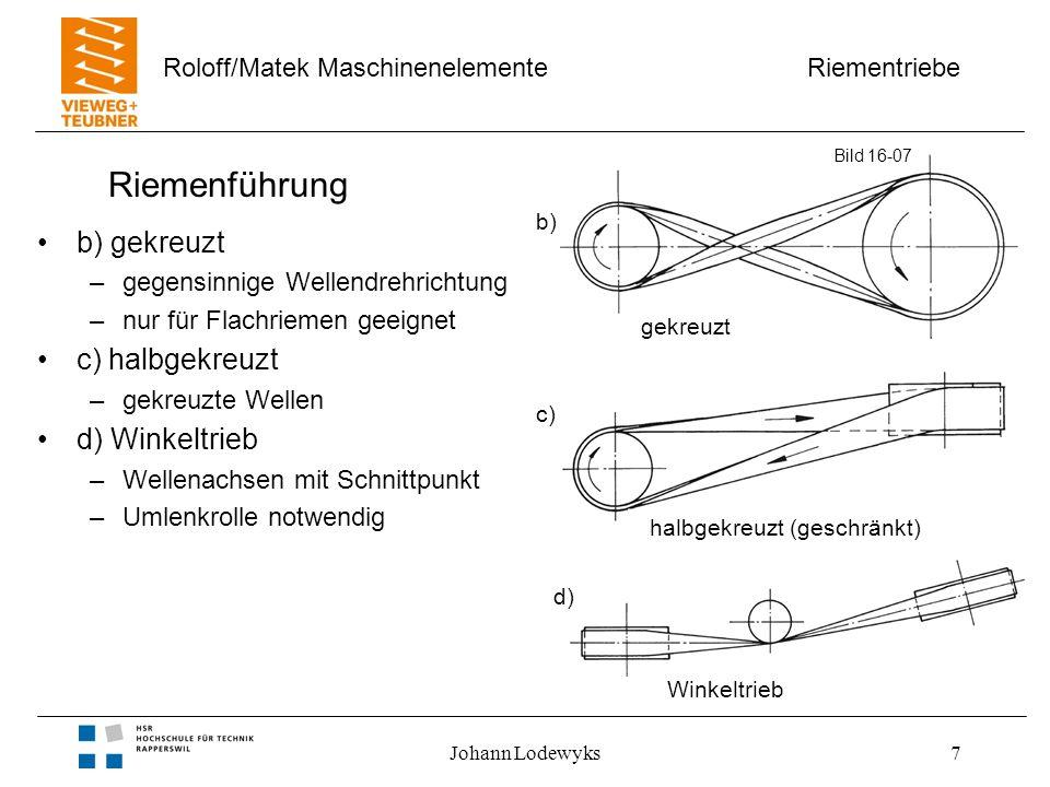 Riementriebe Roloff/Matek Maschinenelemente Johann Lodewyks8 Mehrfachantriebe Eigenschaften –Leistungsverteilung –ein Antrieb, mehrere Verbraucher –Ober- und Unterseite des Riemens als Lauffläche –Mehrfachbiegung –Zahnriemen für winkelgetreue Übersetzung Bild 16-07 e) f)