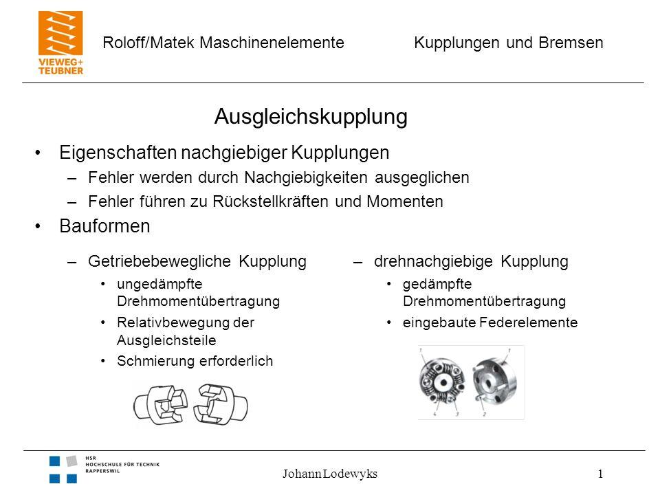 Kupplungen und Bremsen Roloff/Matek Maschinenelemente Johann Lodewyks1 Ausgleichskupplung Eigenschaften nachgiebiger Kupplungen –Fehler werden durch N