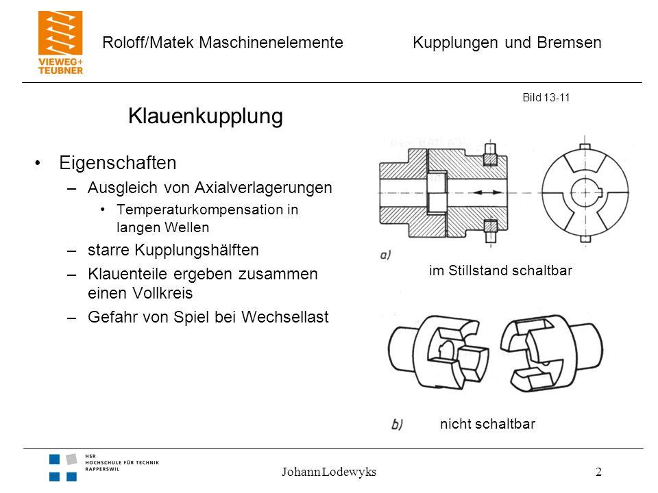 Kupplungen und Bremsen Roloff/Matek Maschinenelemente Johann Lodewyks2 Klauenkupplung Eigenschaften –Ausgleich von Axialverlagerungen Temperaturkompen