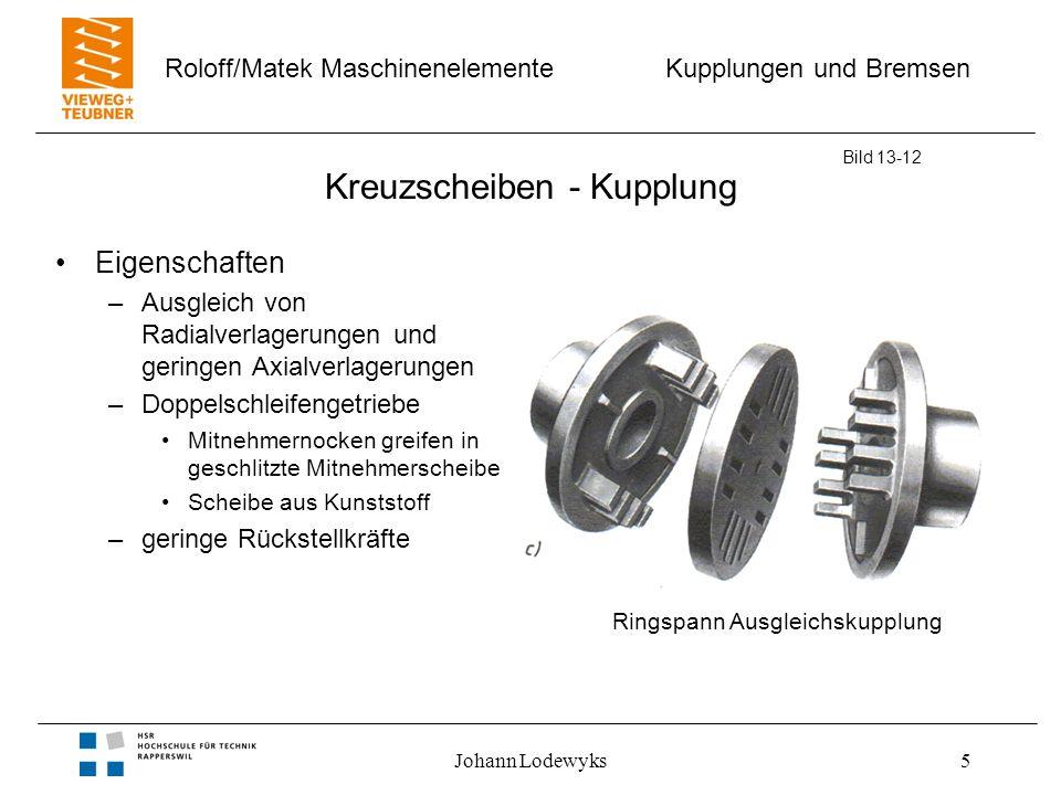 Kupplungen und Bremsen Roloff/Matek Maschinenelemente Johann Lodewyks5 Kreuzscheiben - Kupplung Bild 13-12 Eigenschaften –Ausgleich von Radialverlager