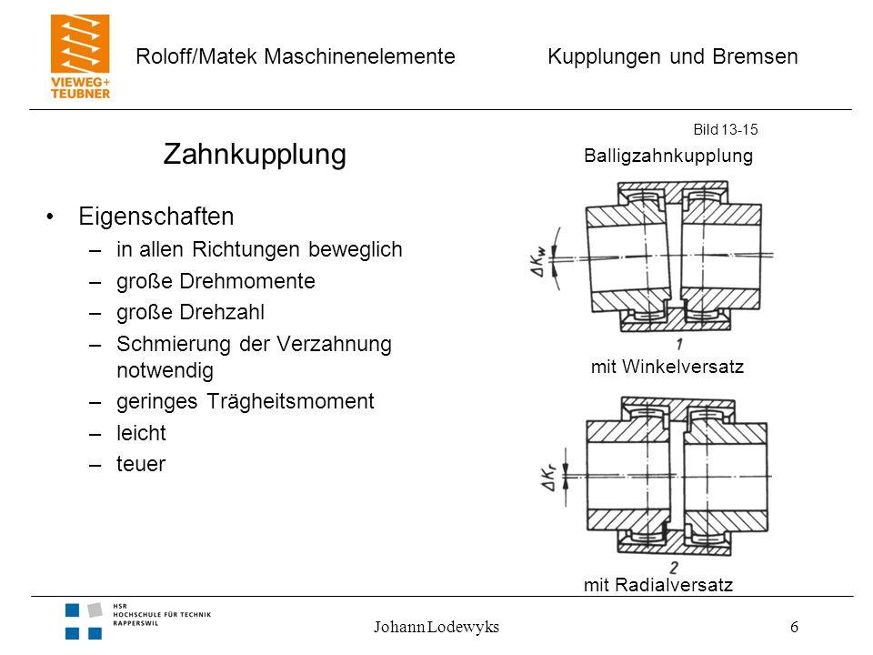 Kupplungen und Bremsen Roloff/Matek Maschinenelemente Johann Lodewyks7 Zahnkupplung Bild 13-15 (b) Zahngeometrie –(1) kugelige Zahnform –(2) Kontaktfläche –(3) ballige Zahnflanke (c) Zahnstellung –winkelig verlagerte Wellen