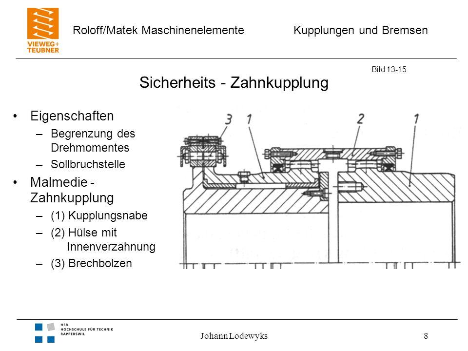 Kupplungen und Bremsen Roloff/Matek Maschinenelemente Johann Lodewyks8 Sicherheits - Zahnkupplung Bild 13-15 Eigenschaften –Begrenzung des Drehmomente
