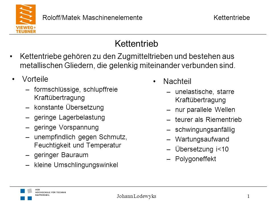 Kettentriebe Roloff/Matek Maschinenelemente Johann Lodewyks1 Kettentrieb Vorteile –formschlüssige, schlupffreie Kraftübertragung –konstante Übersetzun