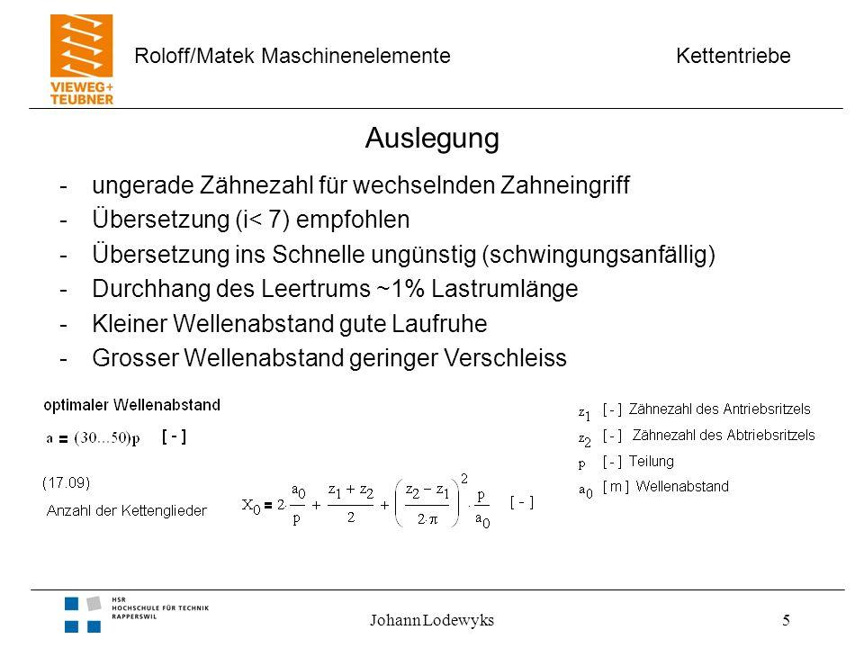 Kettentriebe Roloff/Matek Maschinenelemente Johann Lodewyks5 Auslegung -ungerade Zähnezahl für wechselnden Zahneingriff -Übersetzung (i< 7) empfohlen