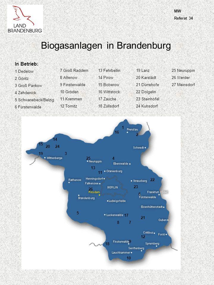 Bioethanolanlagen in Brandenburg In Betrieb: 1 Schwedt In Planung: 2 Gröden 3 Brieselang 4 Premnitz (Baubeginn III/05) 5 Wittenberge (Betrieb 2006) 1 2 34 5 MW Referat 34