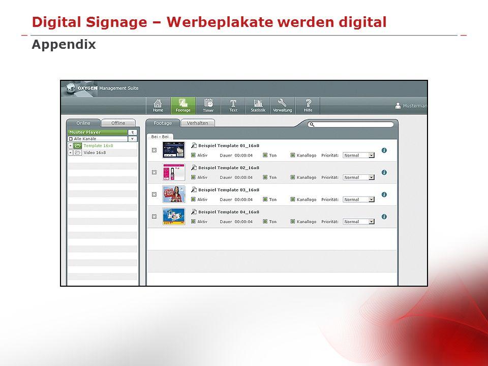 Digital Signage – Werbeplakate werden digital Appendix