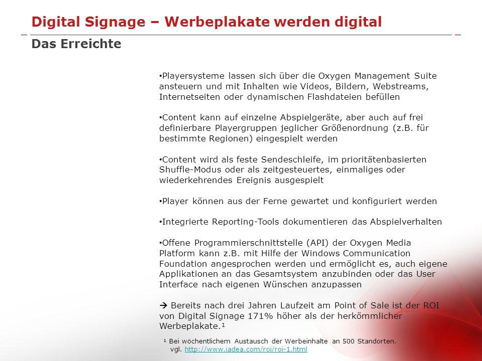 Digital Signage – Werbeplakate werden digital Das Erreichte Playersysteme lassen sich über die Oxygen Management Suite ansteuern und mit Inhalten wie