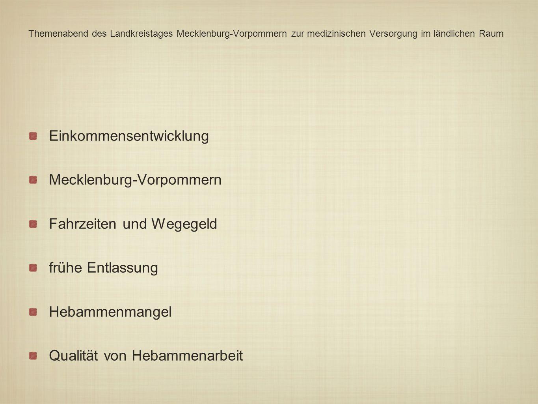Themenabend des Landkreistages Mecklenburg-Vorpommern zur medizinischen Versorgung im ländlichen Raum Einkommensentwicklung Mecklenburg-Vorpommern Fah