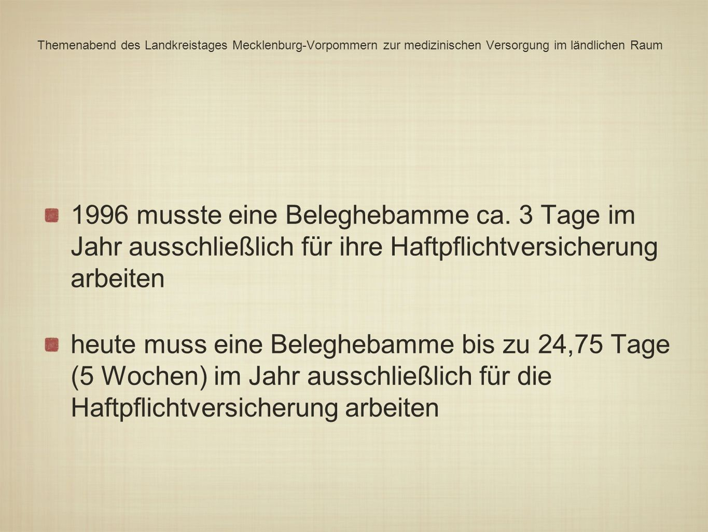 Themenabend des Landkreistages Mecklenburg-Vorpommern zur medizinischen Versorgung im ländlichen Raum 1996 musste eine Beleghebamme ca. 3 Tage im Jahr