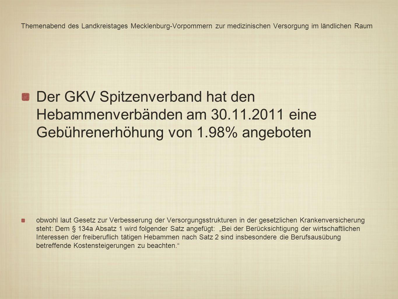 Themenabend des Landkreistages Mecklenburg-Vorpommern zur medizinischen Versorgung im ländlichen Raum Der GKV Spitzenverband hat den Hebammenverbänden