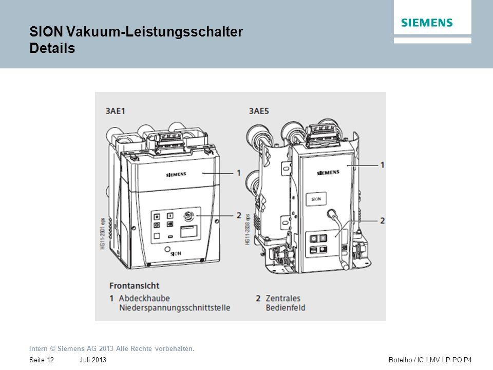 Intern © Siemens AG 2013 Alle Rechte vorbehalten. Juli 2013Botelho / IC LMV LP PO P4Seite 12 SION Vakuum-Leistungsschalter Details