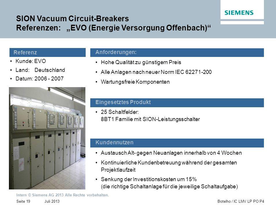 Intern © Siemens AG 2013 Alle Rechte vorbehalten. Juli 2013Botelho / IC LMV LP PO P4Seite 19 Kunde: EVO Land:Deutschland Datum:2006 - 2007 Austausch A