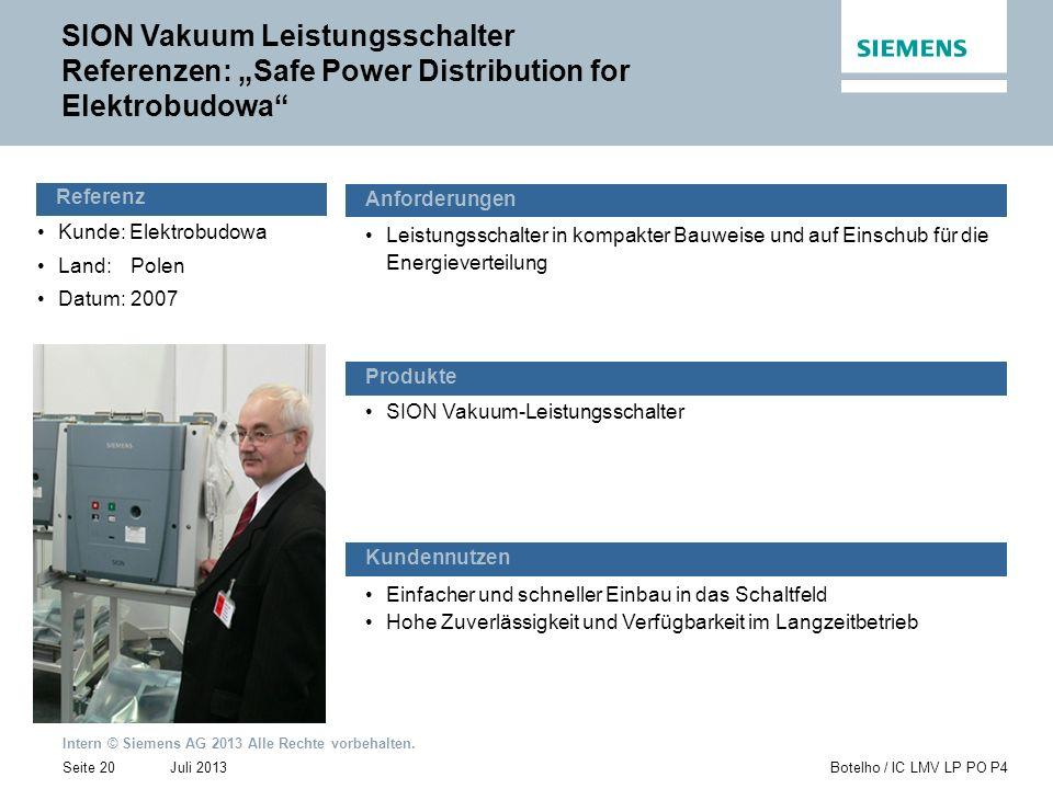 Intern © Siemens AG 2013 Alle Rechte vorbehalten. Juli 2013Botelho / IC LMV LP PO P4Seite 20 Kunde: Elektrobudowa Land:Polen Datum:2007 Einfacher und