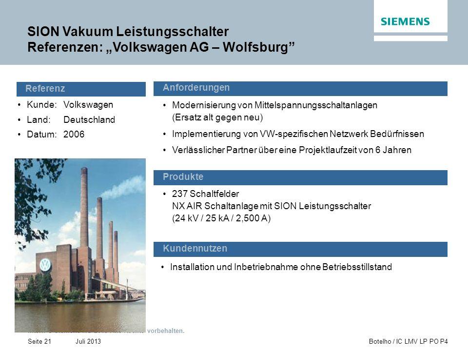 Intern © Siemens AG 2013 Alle Rechte vorbehalten. Juli 2013Botelho / IC LMV LP PO P4Seite 21 Kunde: Volkswagen Land:Deutschland Datum:2006 Installatio