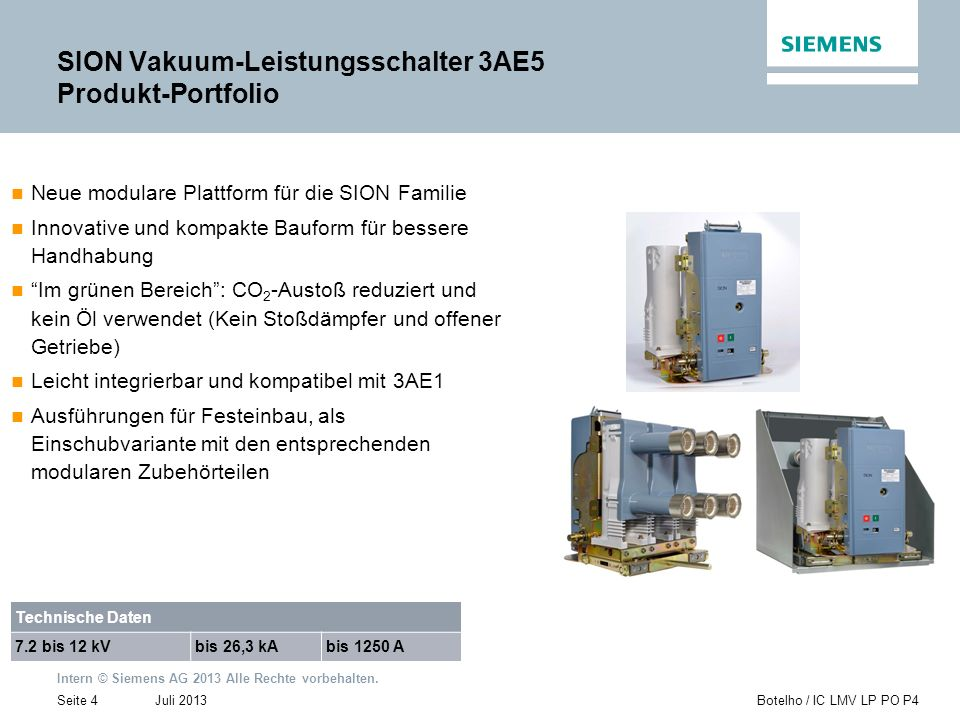 Intern © Siemens AG 2013 Alle Rechte vorbehalten. Juli 2013Botelho / IC LMV LP PO P4Seite 4 Neue modulare Plattform für die SION Familie Innovative un