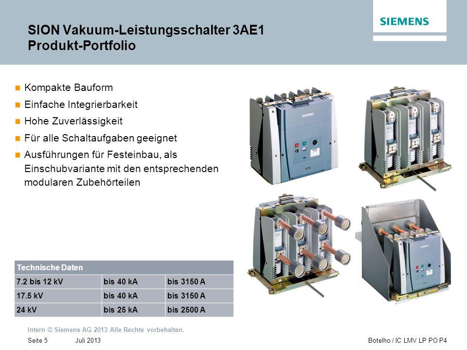 Intern © Siemens AG 2013 Alle Rechte vorbehalten. Juli 2013Botelho / IC LMV LP PO P4Seite 5 SION Vakuum-Leistungsschalter 3AE1 Produkt-Portfolio Kompa
