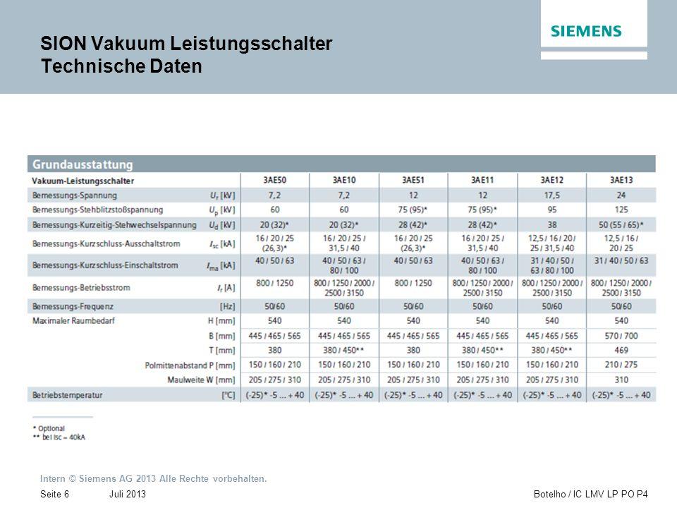 Intern © Siemens AG 2013 Alle Rechte vorbehalten. Juli 2013Botelho / IC LMV LP PO P4Seite 6 SION Vakuum Leistungsschalter Technische Daten