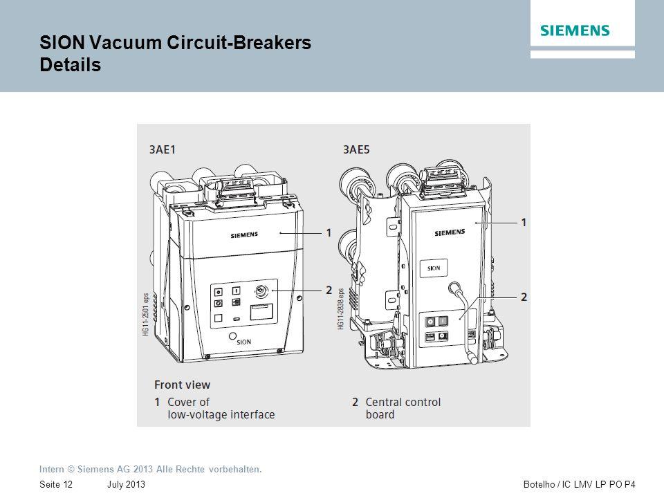 Intern © Siemens AG 2013 Alle Rechte vorbehalten. July 2013Botelho / IC LMV LP PO P4Seite 12 SION Vacuum Circuit-Breakers Details