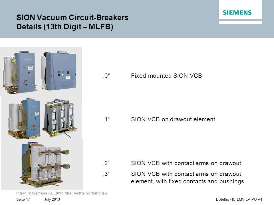 Intern © Siemens AG 2013 Alle Rechte vorbehalten. July 2013Botelho / IC LMV LP PO P4Seite 17 SION Vacuum Circuit-Breakers Details (13th Digit – MLFB)