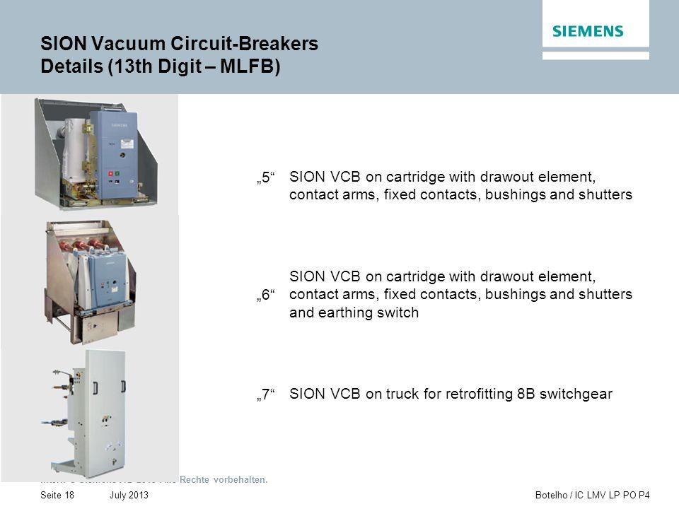 Intern © Siemens AG 2013 Alle Rechte vorbehalten. July 2013Botelho / IC LMV LP PO P4Seite 18 SION Vacuum Circuit-Breakers Details (13th Digit – MLFB)