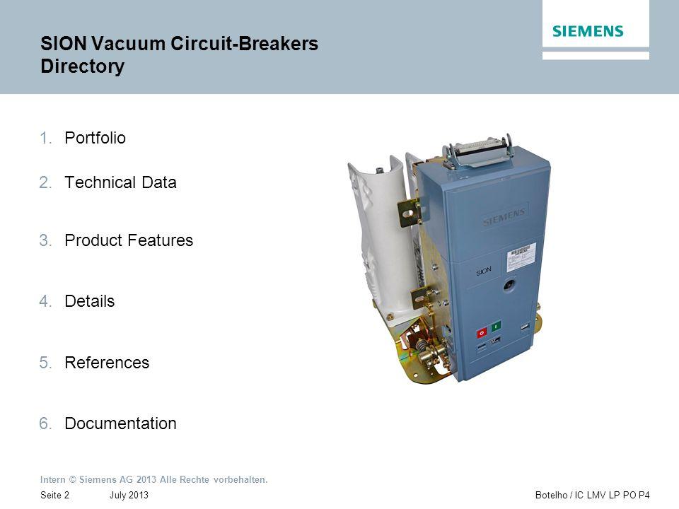 Intern © Siemens AG 2013 Alle Rechte vorbehalten. July 2013Botelho / IC LMV LP PO P4Seite 2 1.Portfolio 2.Technical Data 3.Product Features 4.Details