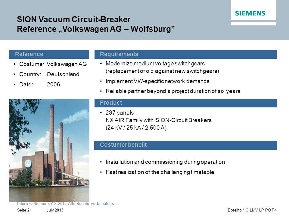 Intern © Siemens AG 2013 Alle Rechte vorbehalten. July 2013Botelho / IC LMV LP PO P4Seite 21 SION Vacuum Circuit-Breaker Reference Volkswagen AG – Wol