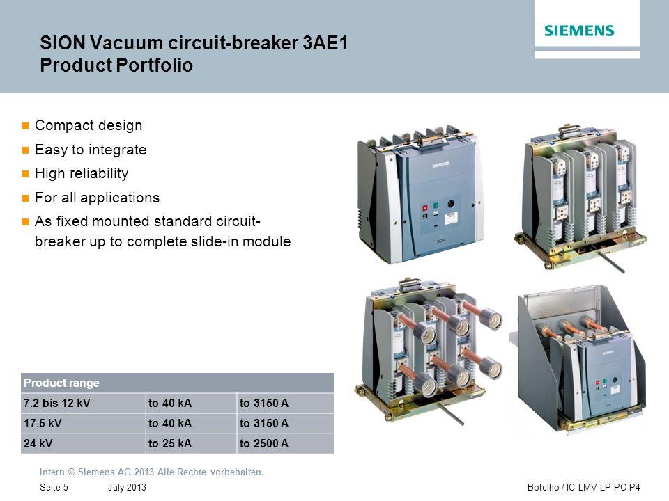 Intern © Siemens AG 2013 Alle Rechte vorbehalten. July 2013Botelho / IC LMV LP PO P4Seite 5 SION Vacuum circuit-breaker 3AE1 Product Portfolio Compact