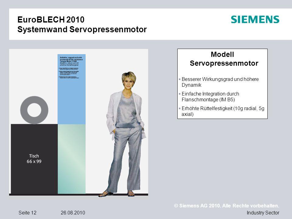 © Siemens AG 2010. Alle Rechte vorbehalten. Industry SectorSeite 1226.08.2010 EuroBLECH 2010 Systemwand Servopressenmotor Modell Servopressenmotor Bes