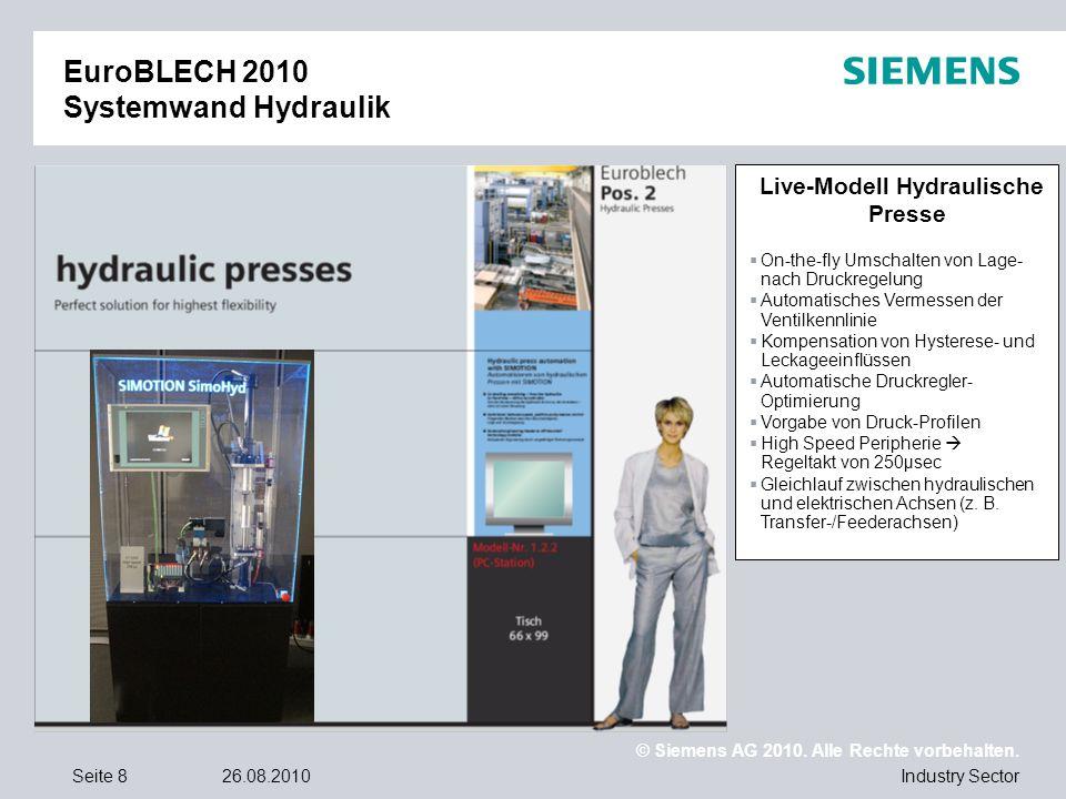 © Siemens AG 2010. Alle Rechte vorbehalten. Industry SectorSeite 826.08.2010 EuroBLECH 2010 Systemwand Hydraulik Live-Modell Hydraulische Presse On-th