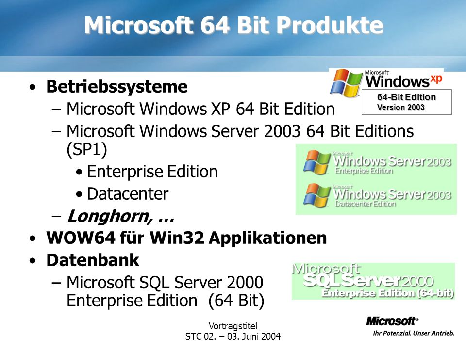 Vortragstitel STC 02. – 03. Juni 2004 Microsoft 64 Bit Produkte Betriebssysteme –Microsoft Windows XP 64 Bit Edition –Microsoft Windows Server 2003 64