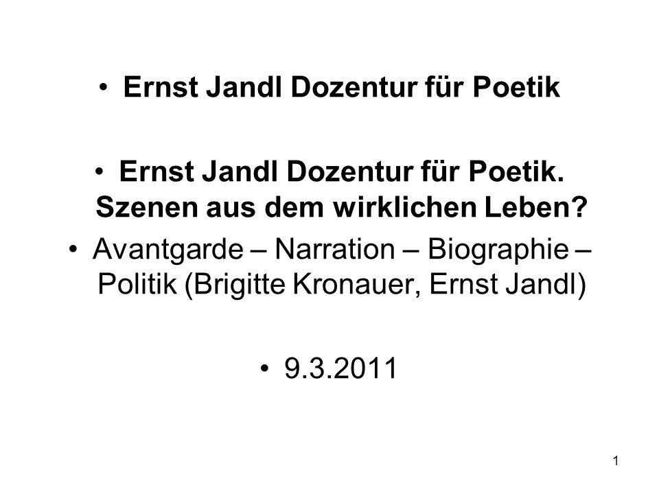 Ernst Jandl Dozentur für Poetik Ernst Jandl Dozentur für Poetik.