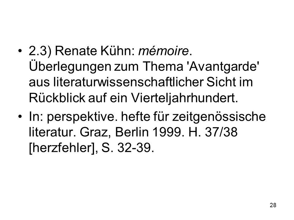 2.3) Renate Kühn: mémoire.