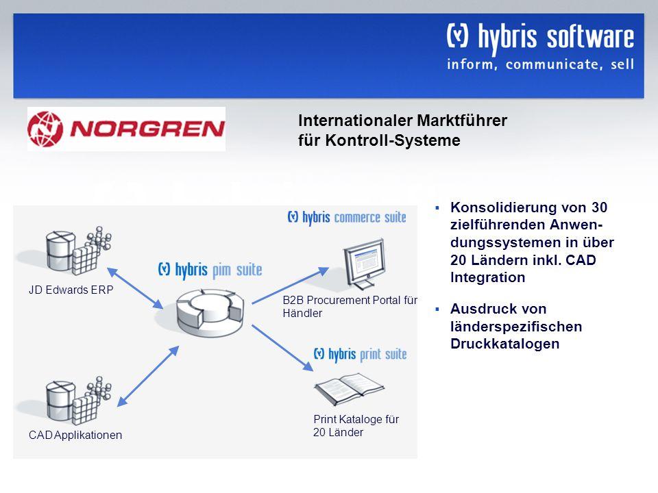 hybris Company Confidential hybris GmbH, 21 Konsolidierung von 30 zielführenden Anwen- dungssystemen in über 20 Ländern inkl. CAD Integration Ausdruck