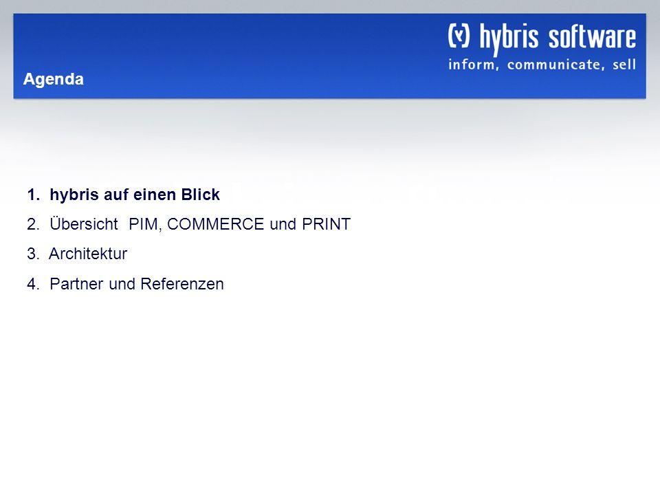 hybris Company Confidential hybris GmbH, 3 Agenda 1. hybris auf einen Blick 2. Übersicht PIM, COMMERCE und PRINT 3. Architektur 4. Partner und Referen