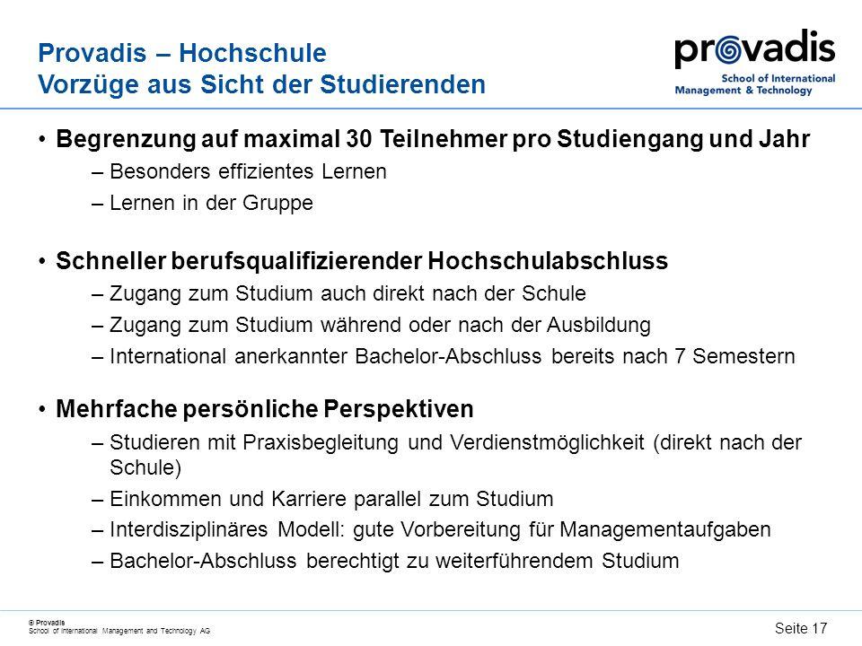 © Provadis School of International Management and Technology AG Seite 18 Praktiker, Theoretiker - Bachelor