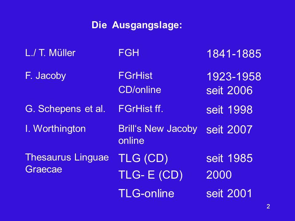 2 L./ T. MüllerFGH 1841-1885 F. JacobyFGrHist CD/online 1923-1958 seit 2006 G. Schepens et al.FGrHist ff. seit 1998 I. WorthingtonBrills New Jacoby on